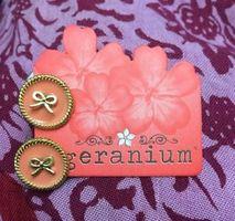 Geranium Pink Circle Bow Stud Earrings