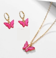 Butterfly Necklace & Earring Set - Gold Plated