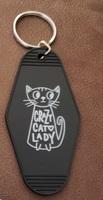 cat lady retro keychain