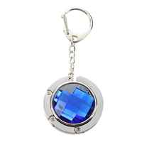 Handbag Holder Keychain Aqua Blue Rhinestone