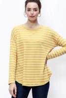 Yellow Stripe Round Neck Long Sleeve Top