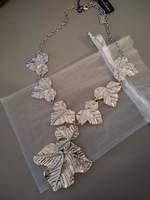 Karine Sultan Silver Fig Leaf Statement Necklace