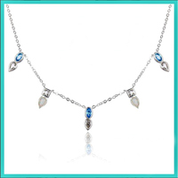 Opal and Blue Crystal Silver Necklace