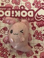 Pink bunny ghost keychain plush