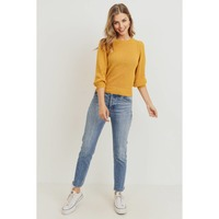 Yellow Round neck elbow-length sleeve knit top