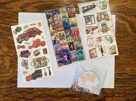 retro travel stickers - 3 sheets + 1 mini notepad