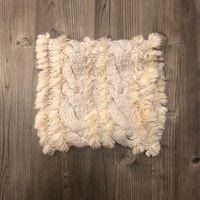 LOFT furry braided circle scarf in tan cream