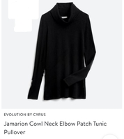 Jamarion Cowl Neck Elbow Patch Tunic Pullover