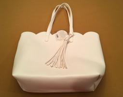 Spring Petal Scalloped Tassel Tote Bag - White