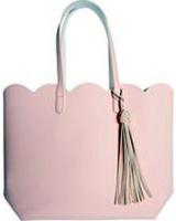 Spring Petal Scalloped Tassel Tote Bag - Pink