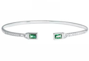 Make Mine A Double Baguette CZ Cuff Bracelet
