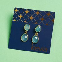 Kevia Amer Post Aqua Chalcedony Earrings