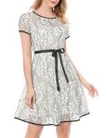 Black & White Bi-Color Contrast Floral Lace A-line Dress