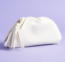 Understated Leather Clutch in White/Ivory