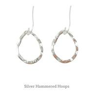 Kevia Silver Hammered Hoop Earrings