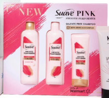 Suave Pink Smooth Performer Line - Shampoo, Conditioner, and Anti-Frizz Cream