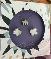 Lily Sky Elephant Necklace and Earrings