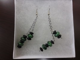 Green & Black Dangle Earrings