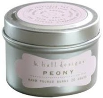 K Hall Designs Peony Travel Candle