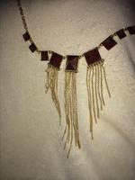 Punch Stone Fringe Necklace