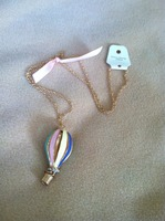 Hot Air Balloon necklace with ribbon bow detail