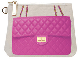 21929.medium Thursday Friday Canvas Clutch Makeup Bag - Pink Purse Design