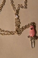Box of Happies Pink Bird Silver Chain Necklace