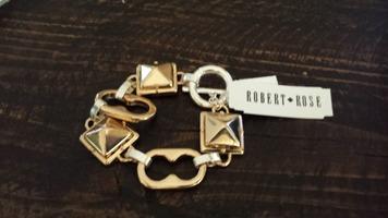 Robert Rose Gold and Silver Stud Link Bracelet