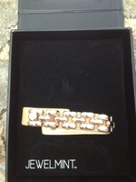 JewelMint Gold and Leather Bracelet