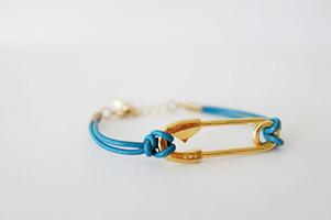 Ettika Safety Pin Leather Bracelet