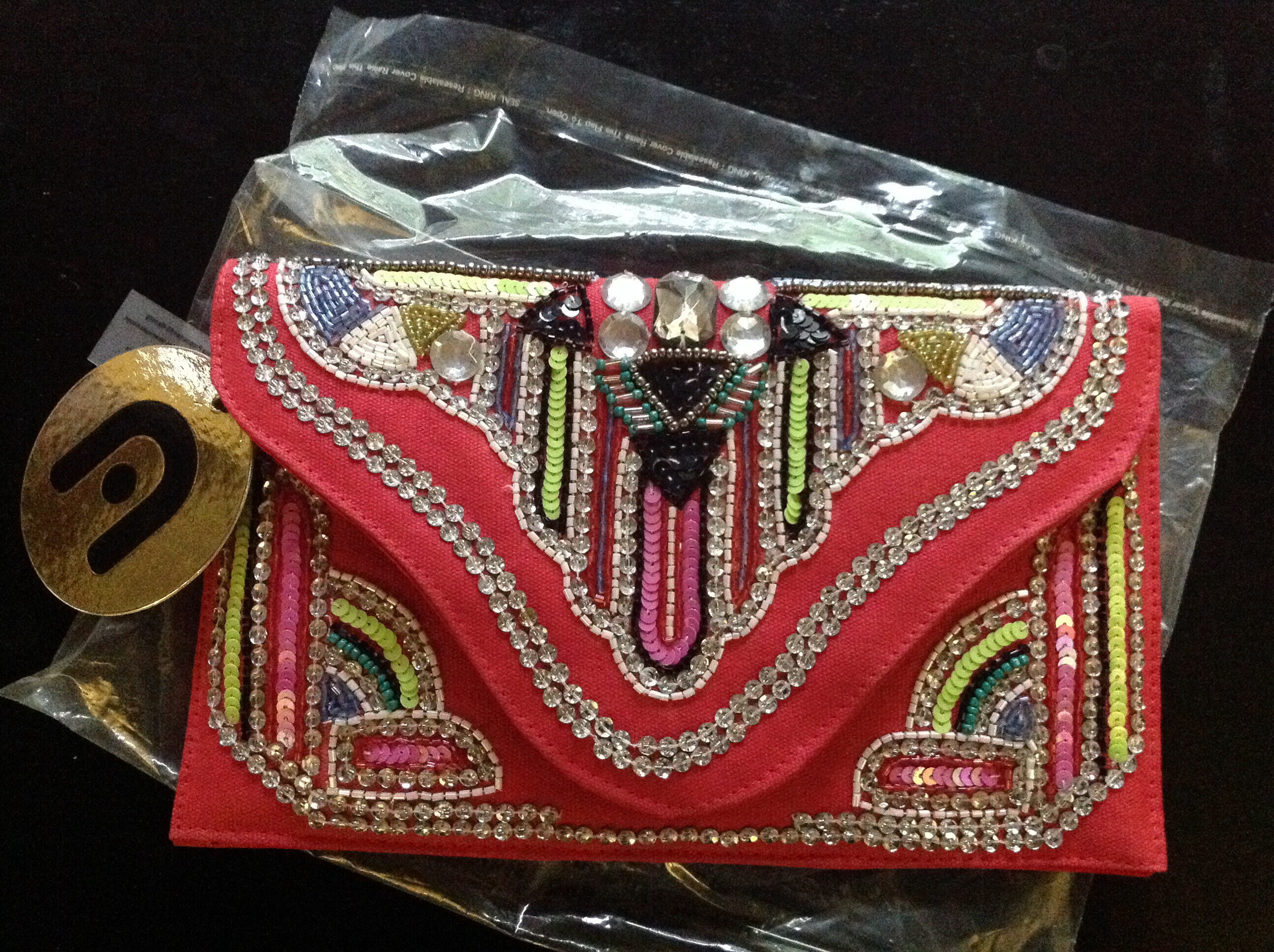 Nila Anthony beaded clutch coral