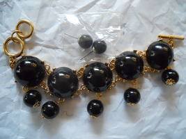 Black/Gold Bauble Bracelet & Earrings