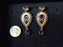JewelMint Silver Earrings w/Blue Stones