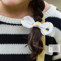 She Does Justice Hair Bow-White with Pink Dots
