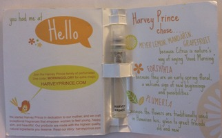 "Harvey Prince ""hello"" sample spray w/card from Birchbox (no size given—usual sample size)"