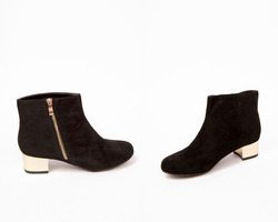 Gold Heel Faux Suede Ankle Boots