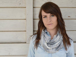 Little Minnow Cream and Grey Floral Infinity Scarf