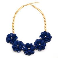 Royal Blue 5-Bloom Flower Necklace
