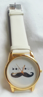 Bonjour Mustache Watch with White Strap
