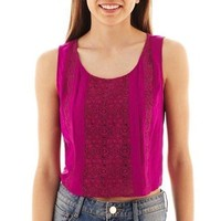 Cropped Lace-Inset Tank Top
