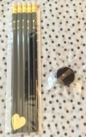 Letter C Design Black Pencils w/Gold Foil Arrow Pencils with black mini pencil sharpener from the September 2014 POPSUGAR MUST HAVE box (sugg. Retail $5.00)
