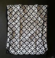 Black and White Patterned Drawstring Bag