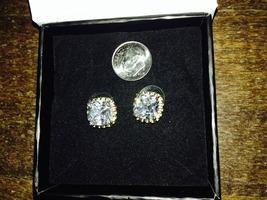 Cushion cut crystal earrings with gold chain trim