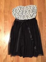 Mystic Black and White Strapless Dress