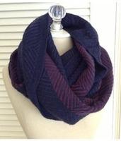 Simonetta Herringbone Infinity Knit Scarf in Navy