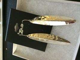 Zad Aria Hammered Metal Silver Leaf Earrings