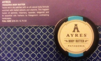 """AYRES Patagonia Body Butter in 1 OZ sample (full-size is 6.75 OZ & $28.00) value about $4.51 from the July 2014 """"Stars & Stripes"""" Glossybox"""