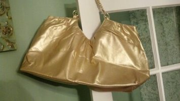 Large Metallic Gold Tote w/ gold chain strap