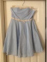 Strapless blue polka dot dress- minuet brand