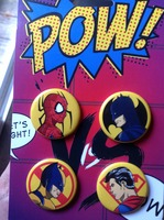 Marvel DC Pow! Buttons Pins set of four